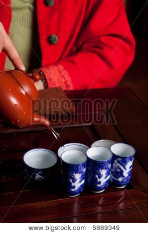 Pouring Water For Tea