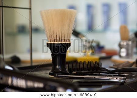 Barber salon. Hair cutting equipment. Barber supplies poster