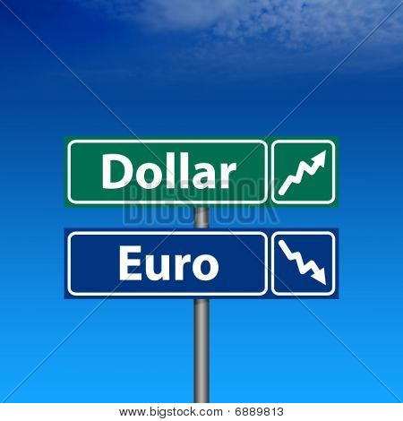 Road Sign, Dollar Up, Euro Down