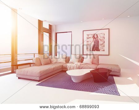 Bright light sitting room interior bathed in sunlight through a lager view window overlooking the ocean with a comfortable modern corner lounge suit and art on the wall