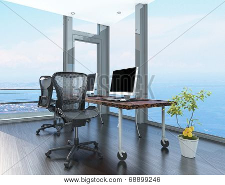 Home office in a coastal apartment with wraparound glass -to-ceiling windows overlooking the sea and a corner computer workstation on wheels