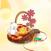 Beautiful bouquet packed with teddy bear, gift boxes, pink flowers and rakhi on shiny yellow background for Raksha Bandhan celebrations.  poster