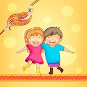 Cute little sister and brother hugging to each other on occasion of Raksha Bandhan celebrations with beautiful rakhi on bright yellow background.  poster