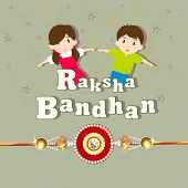 Cute little sister and brother holding their hands with beautiful rakhi on green background for Raksha Bandhan celebrations.  poster