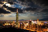 Skyline of Xinyi District in downtown Taipei Taiwan for adv or others purpose use poster