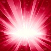 Explosion of light, stars, and hearts. Background for your romantic designs. No transparencies. Light beams, hearts and stars on separate layers. poster