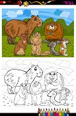 Coloring Book or Page Cartoon Illustration of Black and White Funny Rodents Mammals Animals Mascot Characters Group for Children poster