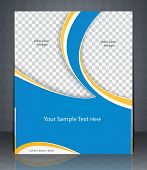 Vector layout flyer magazine cover or corporate design template advertisment blue color. poster
