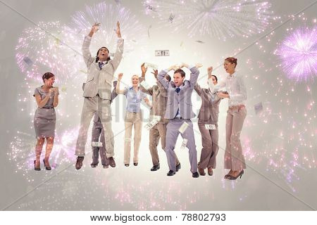 Very happy people with money falling from the sky against colourful fireworks exploding on black background