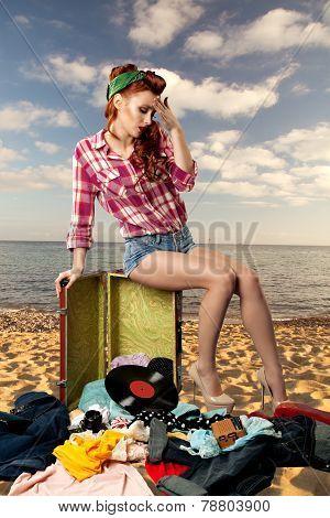 Pin-up Girl At The Resort.