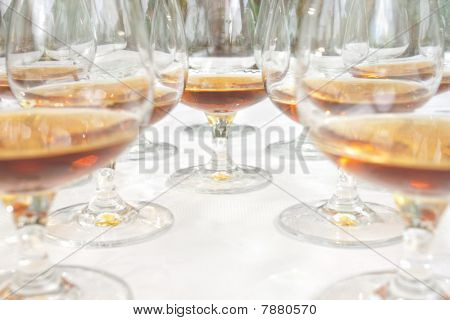 Lots Of Glasses With Cognac
