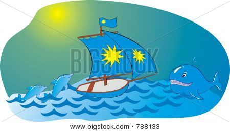 Sea yacht whale dolphin poster