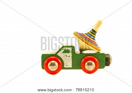 Old Used Truck Car Toy With Colorful Whirligig