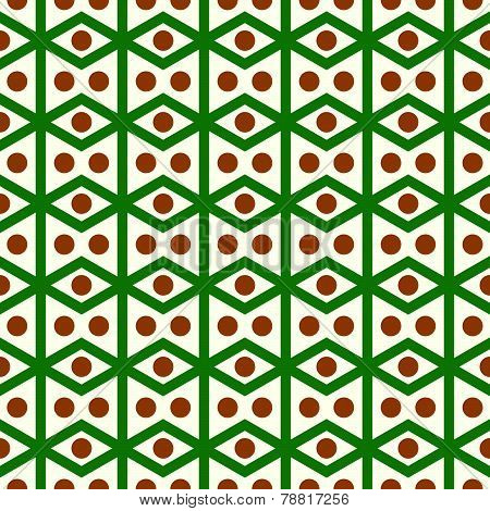 Green Rhomboid And Circle Pattern On Pastel Color