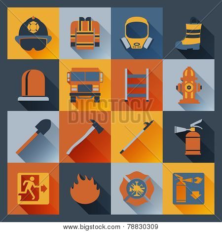Firefighter icons flat