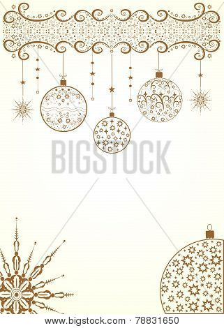 Golden christmas background with balls and snowflakes for design A4