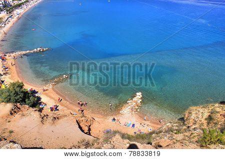 Beautiful Blue Baska Bay Beach Aerial View