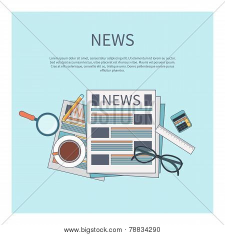 News concept. Newspaper with magnifying glass, glasess, cup of tea and calculator in flat design poster