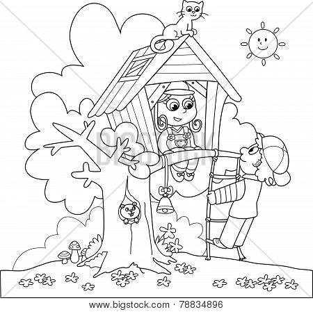 Coloring Treehouse and kids
