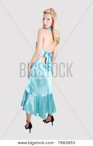 Tall Blond Girl In Dress.