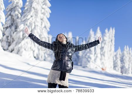Young Woman On The Mountain At Winter