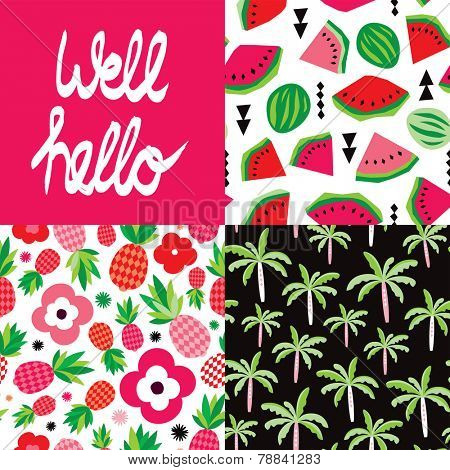 Well hello hand lettering and tropical hot summer palm tree pineapple and water melon seamless background pattern set in vector