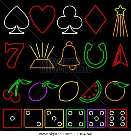 Neon gambling symbols