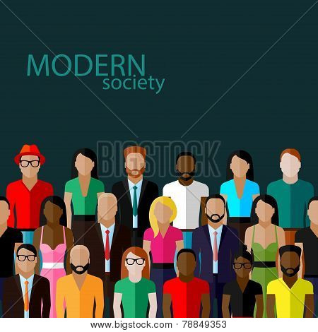 vector flat  illustration of society members with a large group of men and women. population. modern