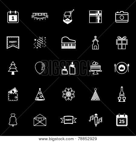 Christmas And New Year Line Icons On Gray Background