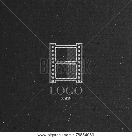 vector illustration with engraving film strip icon in flat style on cardboard texture. cinema production company logo design. poster