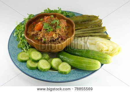 Nam Prik Aong (thai name) (Northern Thai Meat and Tomato Spicy Dip). Restaurant's famous northern Thailand. poster