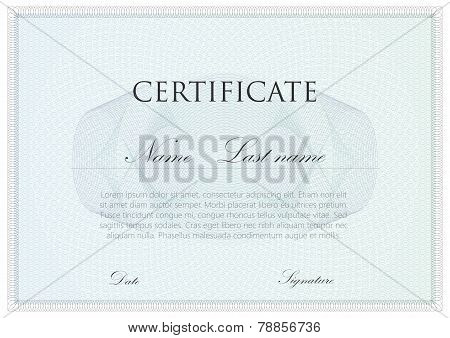 vector template design of certificate with guilloche signs