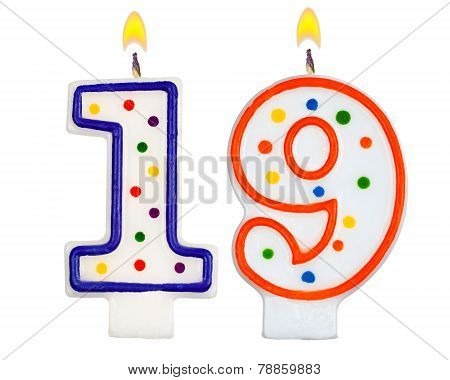 Birthday Candles Number Nineteen