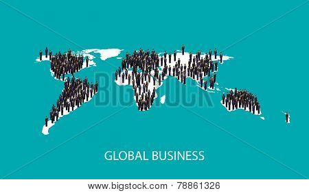vector 3d isometric illustration of business people standing on the world global map shape. infograp