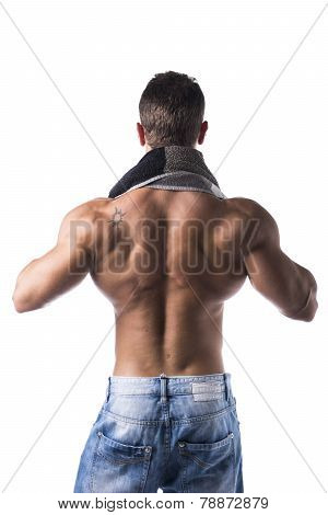 Back Of Hunky Male Bodybuilding Model Drying Himself With Towel