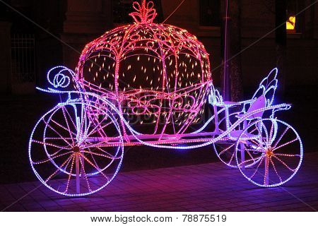 beautiful shine light Cinderella carriage decoration on the street poster
