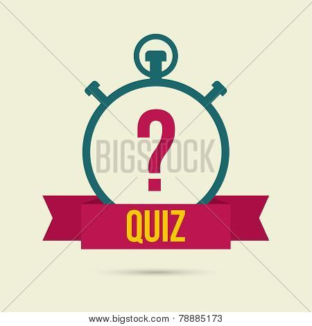 Timer with a question. Quiz. The concept is the question the answer. Icon with ribbon for mobile applications poster