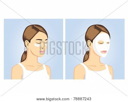 Beauty Women with facial & eye mask