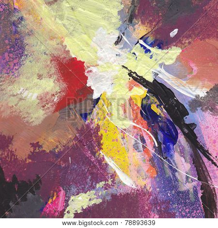 Abstract art - hand painted canvas background poster
