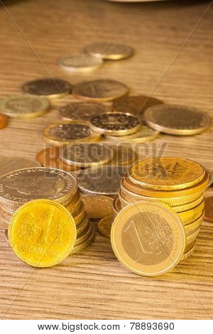 Old Coins Stacked