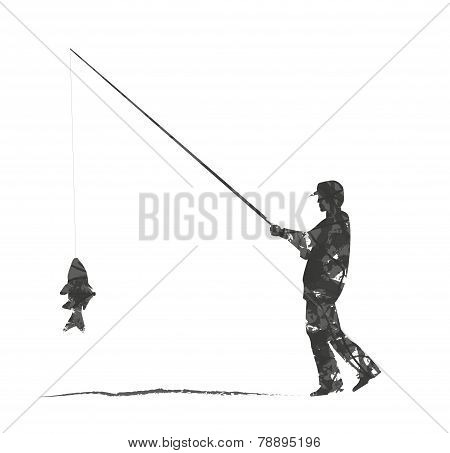 abstract silhouette of fisherman