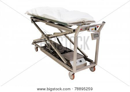 the image of a morgue trolley