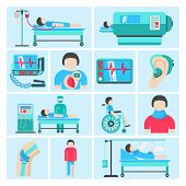 Healthcare medical patient respiratory monitoring apparatus life support infuse system flat icons set abstract isolated vector illustration poster