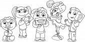 Children showing five senses. Coloring cartoon illustration. poster