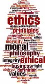 Ethics word cloud concept. Vector illustration on white poster