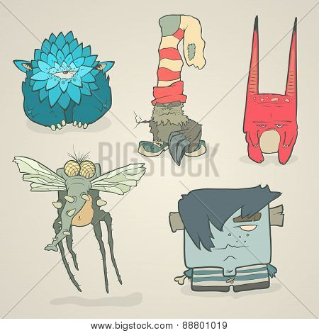 Vector set of illustrations cartoon cute monsters or aliens with claws and fangs