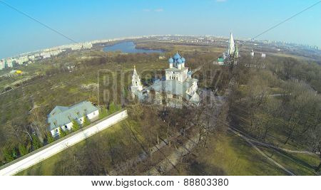 Architectural complex with Church of Kazan Icon of Mother of God and Temple of Ascension in Museum-Reserve Kolomenskoe, aerial view