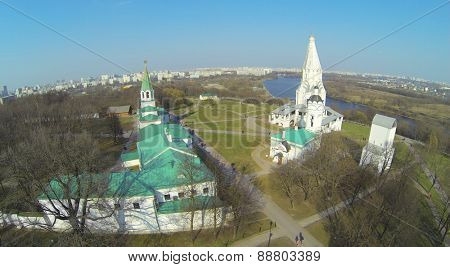 Architectural complex with Church of Ascension in Museum-Reserve Kolomenskoe at sunny day, aerial view