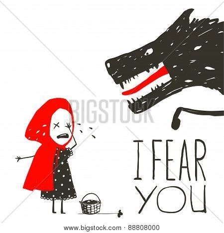 Little Red Riding Hood Crying and Black Scary Wolf
