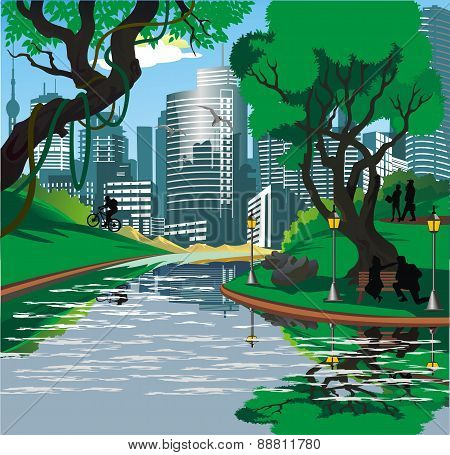 Landscape - the people near the river in the vector